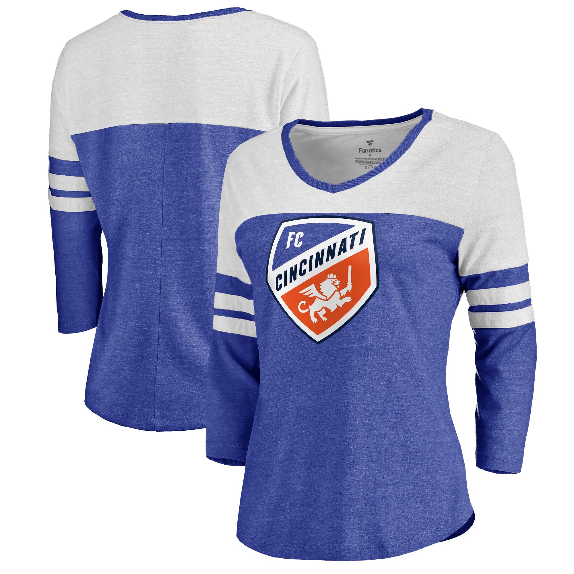 FC Cincinnati Fanatics Branded Women's Primary Logo Color Block Tri-Blend 3/4-Sleeve T-Shirt - Royal