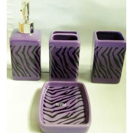 - 4 Piece Ceramic Bath Accessory Set: Soap Dispenser, Tumbler, Toothbrush Holder, Soap Dish- Black Purple Zebra Animal Print