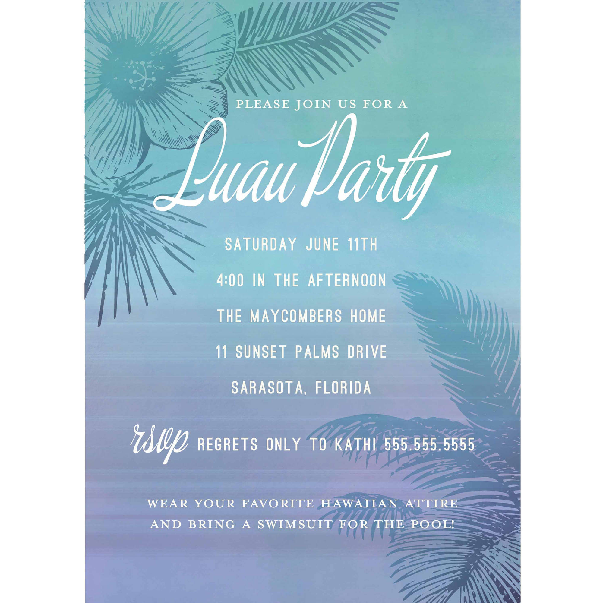 Tropical Oasis Standard Party Invite