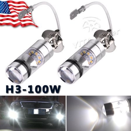100w 9007 Light Bulb - 2x 6000k White LED H3 High Power 100W 2323 Car Fog Light Bulb DRL 1900LM