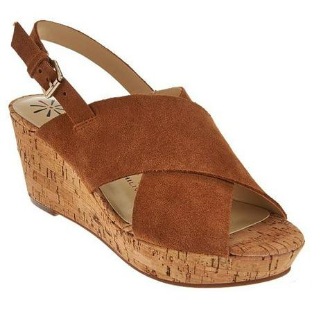 NEW Womens Isaac Mizrahi Maddie Crossband Wedge Sandals Cognac Sz 9 M ASO QVC