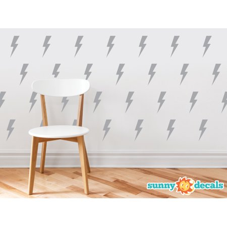 Lighting Bolts Fabric Wall Decals - Set of 50 Thunder Decals  - 19 Color Options-Grey/