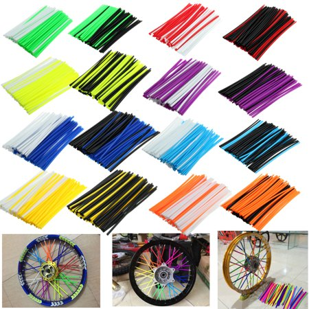72pcs/set 19 to 21 inch Wheel Spoked Wraps Skins Covers Kit Motocross Dirtbike Dirt Bike for HON DA KAWASA Motorcycle Accessories KI SUZU KI YAMA HA KTM etc.