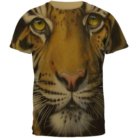 Siberian Tiger Snap (Siberian Tiger Face All Over Tan Adult T-Shirt )