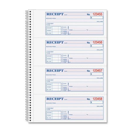 Money and Rent Receipt Book, 2-Part Carbonless, 2.75 x 7.13 Inch Detached, Spiral Bound, 200 Sets per Book (SC1182), Use for rent payments or.., By