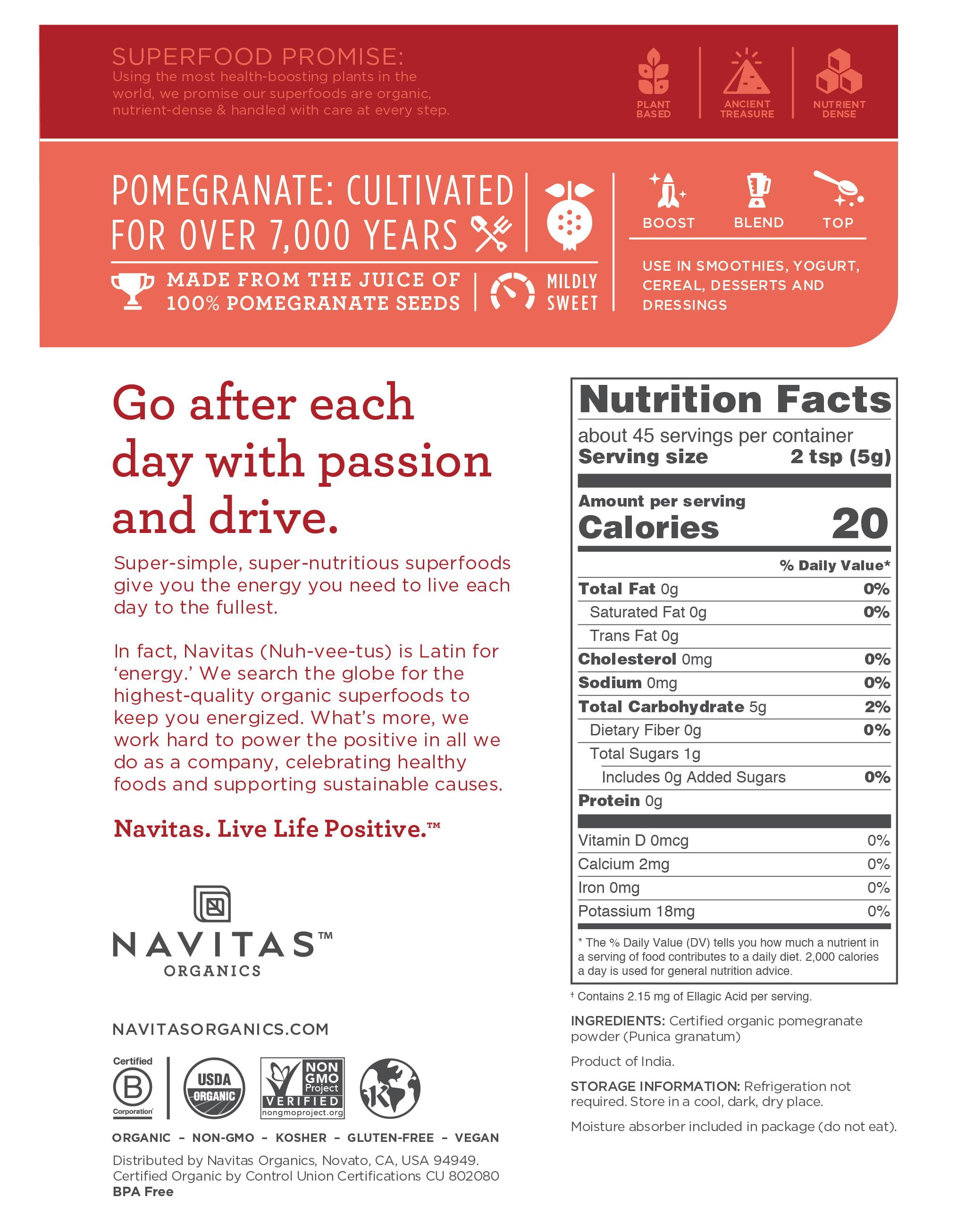 Navitas Organics Pomegranate Powder, 8 oz