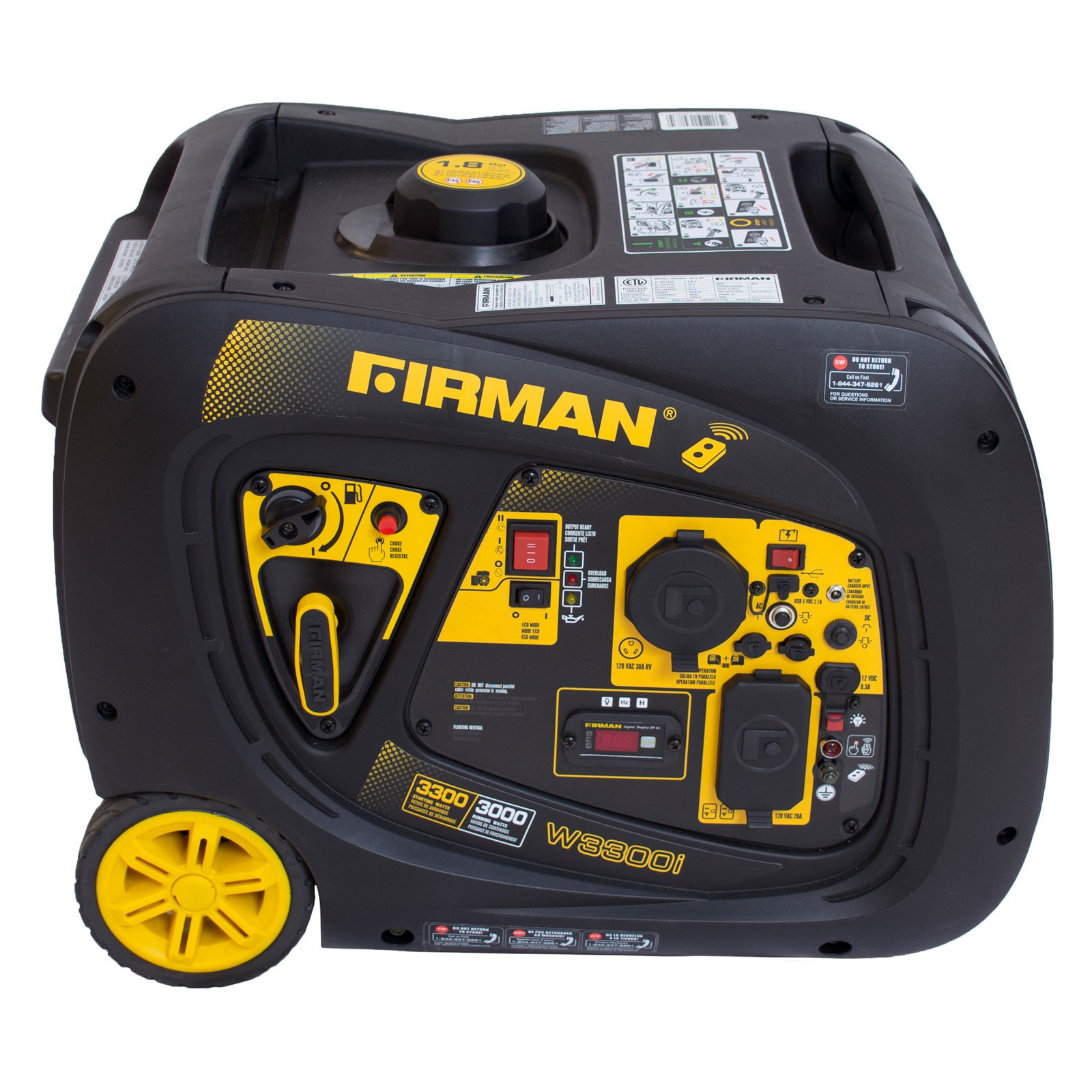 Firman Power Equipment W03083 3000/3300 Watt Extended Run Time Portable Gas Inverter with Electric and Remote Start