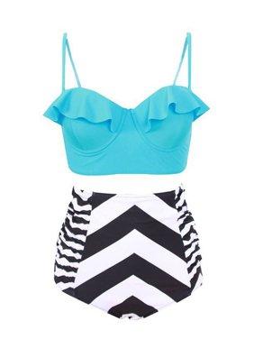 CJCMALL Plus Size Swimwear Fashion Women High Waisted Swimsuit Push Up Padded Bikini Set