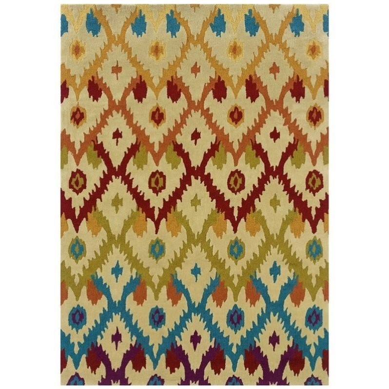 Linon Trio 8' x 10' Hand Tufted Rug in Sand and Teal