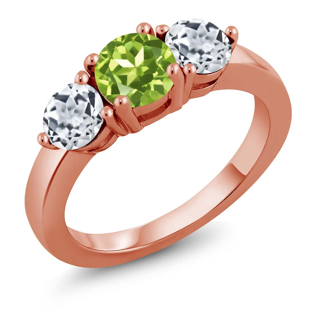 2.10 Ct Round Green Peridot White Topaz 18K Rose Gold Plated Silver Ring