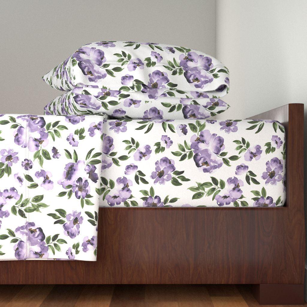 Purple Flowers Purple Floral Purple 100% Cotton Sateen Sheet Set by Roostery