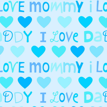 David Textiles, Inc. FABRIC CUT FLEECE LOVE MOM DAD BLUE 1.5 (Mothers Day Fabric)