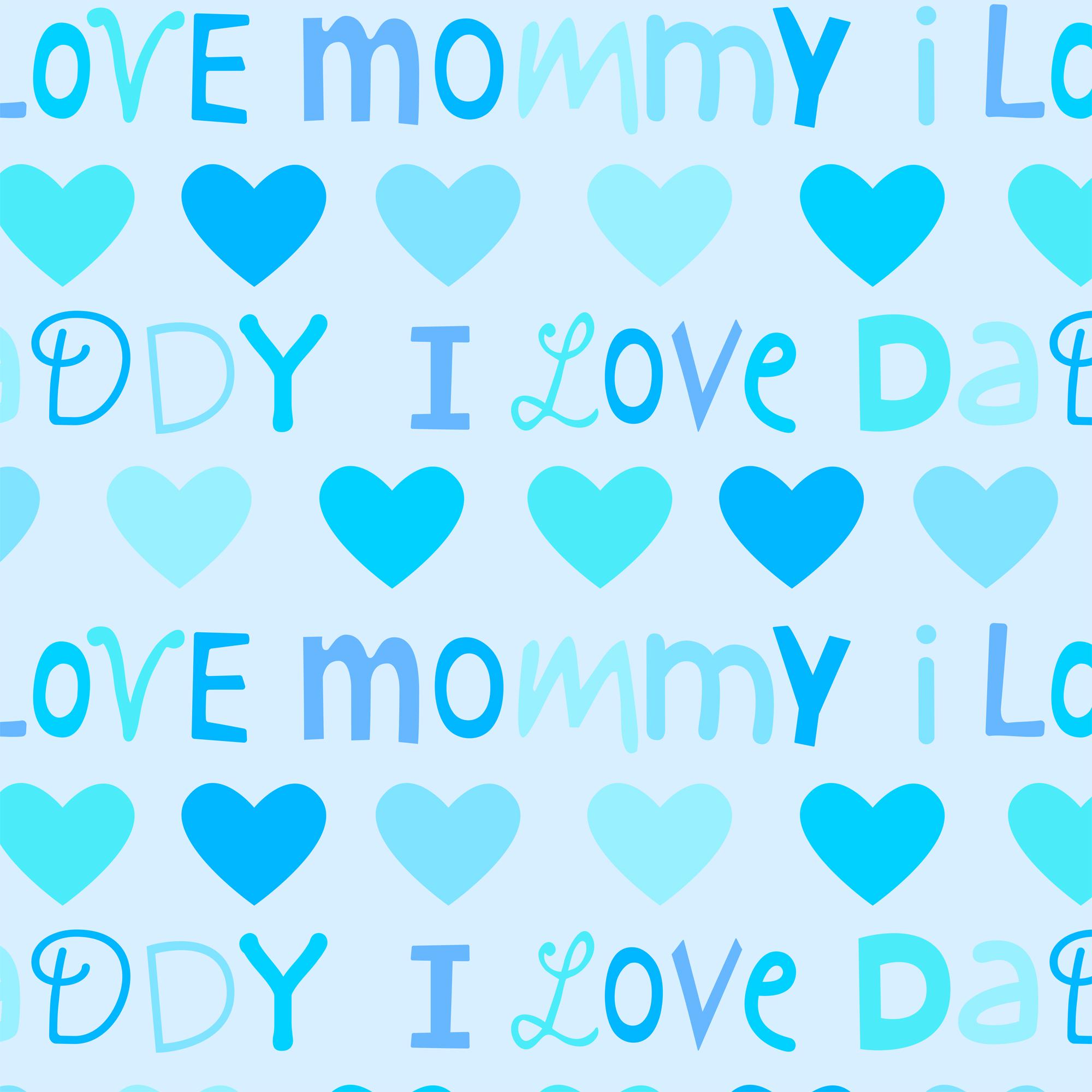 David Textiles, Inc. FABRIC CUT FLEECE LOVE MOM DAD BLUE 1.5 YARD