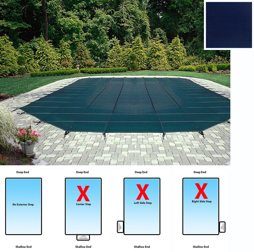 Mesh Rectangular Safety Cover - 14' x 28' In-Ground Pool-12-Year Warranty-Blue