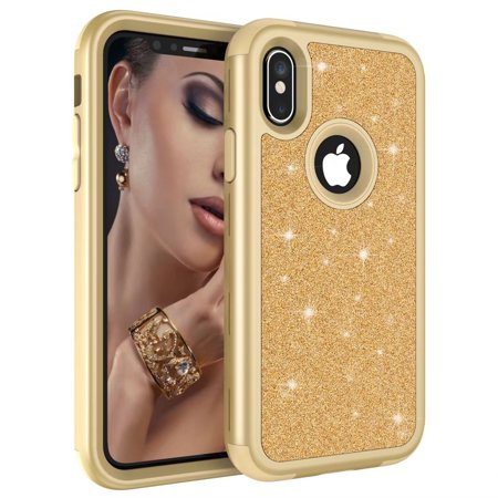 iPhone X / Xs Bling Glitter Case MINI-FACTORY Luxury Protective Sparkle Shockproof Cute Cover - Champagne -