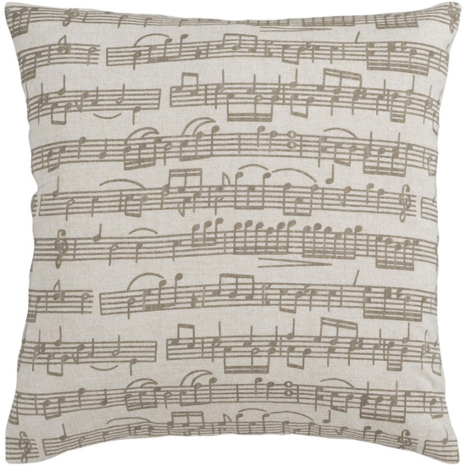 "18"" Musical Composition Beige and Brown Decorative Down Throw Pillow"