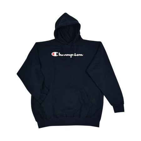 Logo Hoodie Top - Champion Men's Big and Tall Script Logo Pullover Hoodie