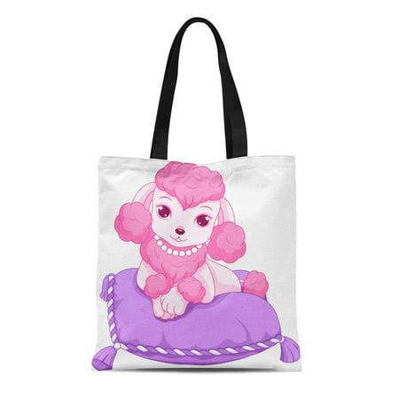 ASHLEIGH Canvas Tote Bag Pink Cute Mini Poodle Pet Royal Cartoon Clip Reusable Shoulder Grocery Shopping Bags Handbag](Poodle Purses)