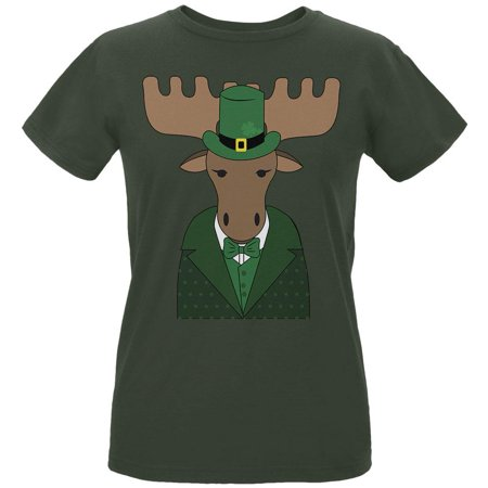 St. Patrick's Day Irish Leprechaun Moose Womens Organic T Shirt