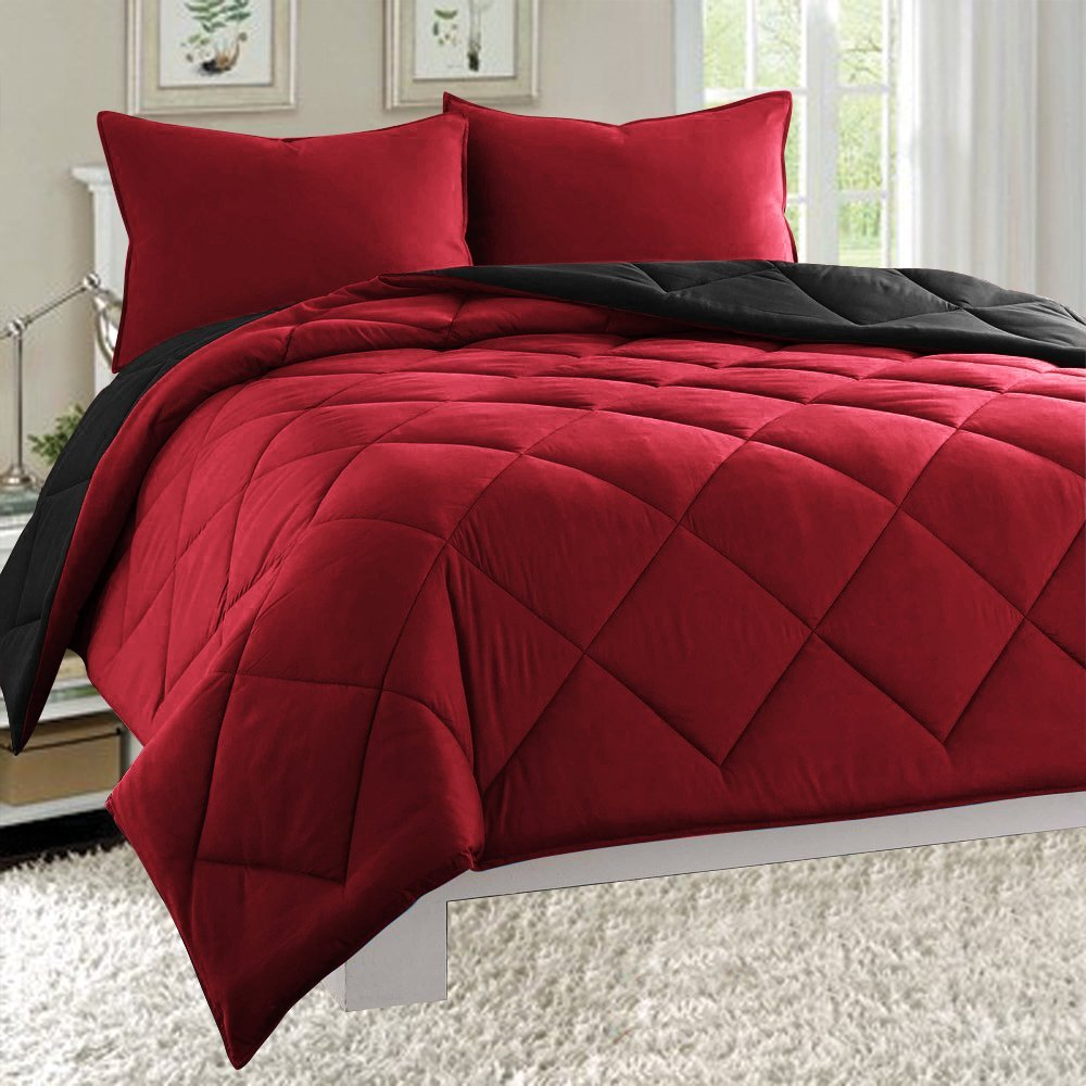 Super Soft Goose Down Alternative 2-Piece REVERSIBLE Comforter Set- All Sizes And Many Colors Available , Twin, Black/Burgundy, Silky soft 2pc comforter provides medium.., By Elegance Linen