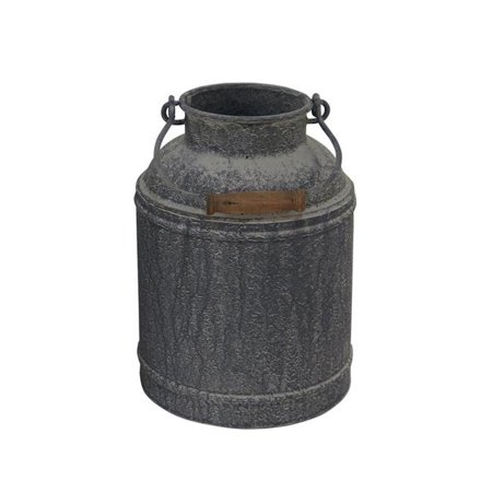 Cheungs 5031S 2 lbs Galvanized Metal Milk Jug Decor with Folding Handle - Distressed Washed Finish