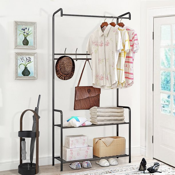 2-in-1 Entryway Clothes Hanger and Shoe Rack, Hall Tree Metal Coat