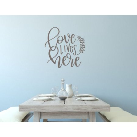 Vinyl Wall Decals Love Lives Here With Leaf Art Letters