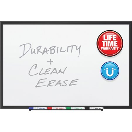 Quartet, QRT2544B, Black Frame DuraMax Porcelain Whiteboard, 1 / Each Frame Wall Mount Whiteboard