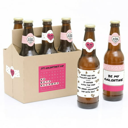 Be My Galentine - Valentine's Day Party Decorations for Women and Men - 6 Beer Bottle Label Stickers and 1 Carrier - Vintage Valentine Decorations