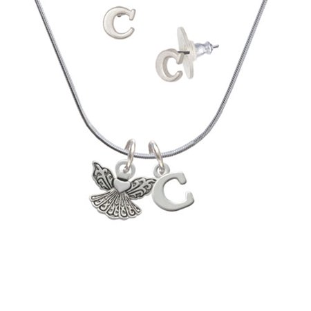 Right Angle Stud - Small Angel with Heart - C Initial Charm Necklace and Stud Earrings Jewelry Set
