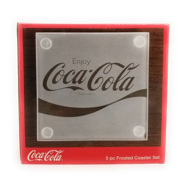 Coca Cola 5 Piece Frosted Coke Coaster Set With Decorative Holder Walmart Com Walmart Com