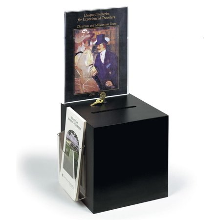 Acrylic Ballot Box, Donation Box with Key Lock, 8.5 by 11 inch Sign Holder and 4 inch wide Brochure Pocket - Black