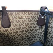 f8c5dcf4f62a Michael Kors Candy Large Reversible Tote Brown Signature Black Pouch MK Logo  Image 9 of 9