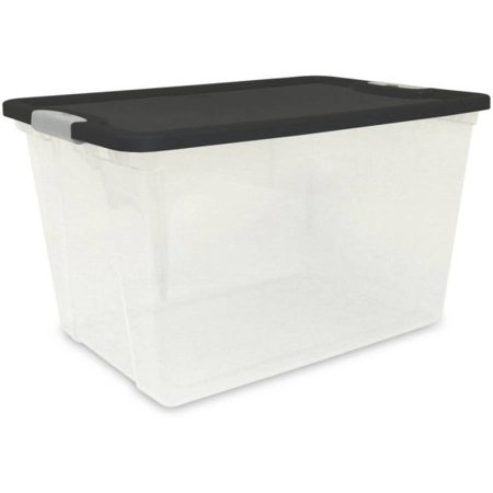 Homz 64 Quart Clear Storage Container with Black Lid, set of 6