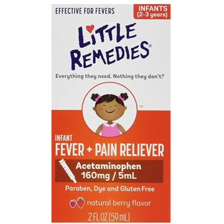 4 Pack - Little Remedies Infant Fever/Pain Reliever, Natural Berry Flavor, 2 oz