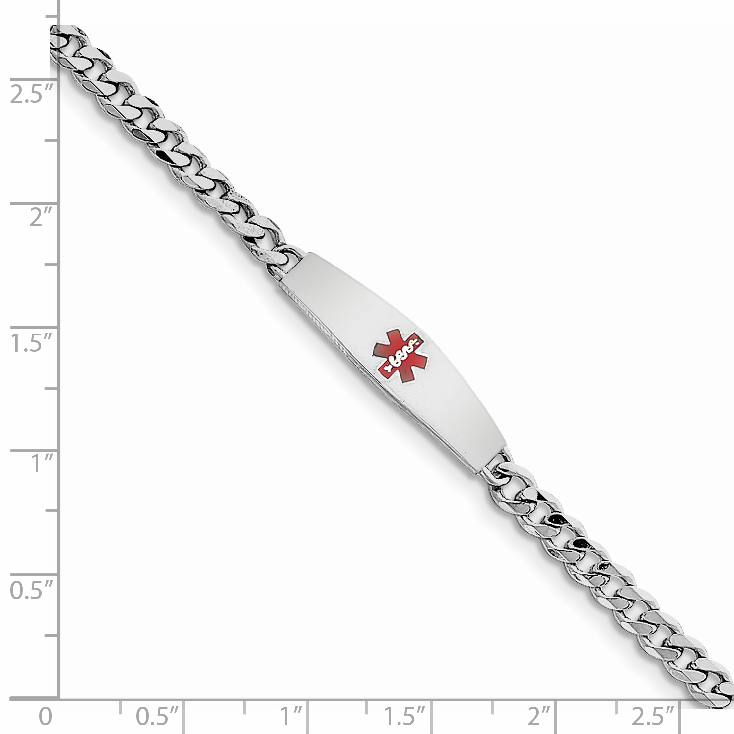 """Sterling Silver Rhodium-plated Medical ID Bracelet w/Curb Link 7 Inch """"Bracelets - image 1 of 2"""