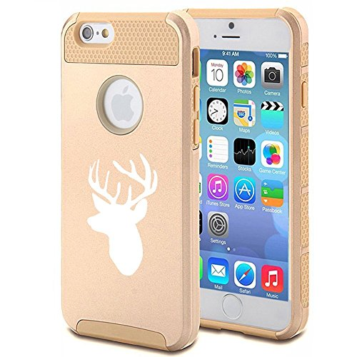 Apple iPhone SE Shockproof Impact Hard Soft Case Cover Deer Head with Antlers (Gold),MIP