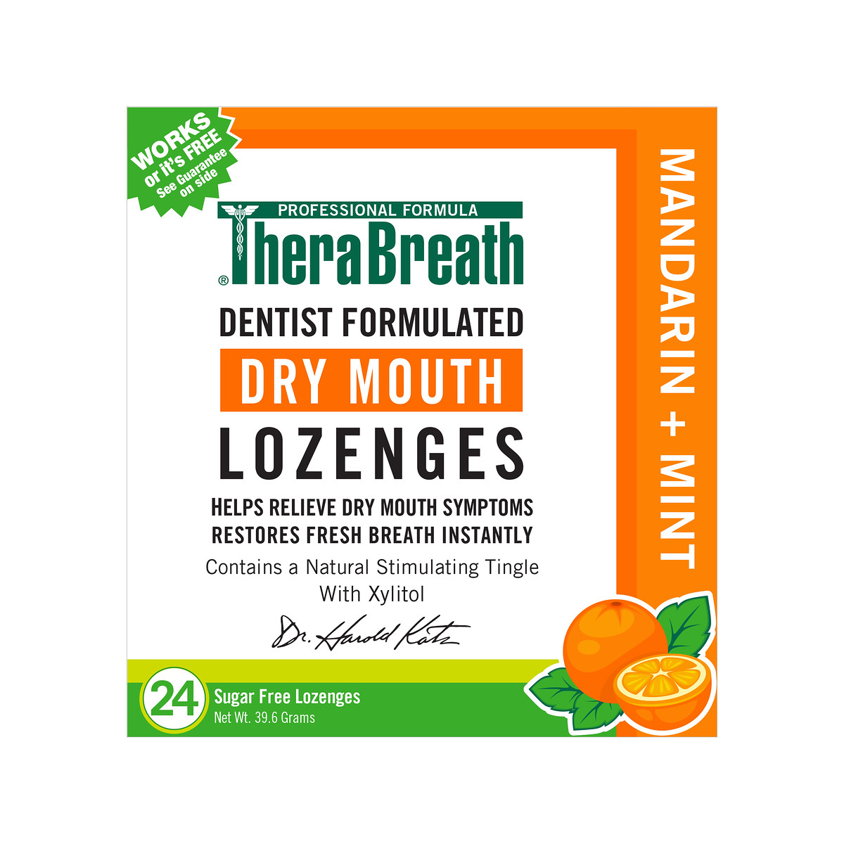 Thera Breath Dry Mouth Mandarin Mint Lozenges, 24 count