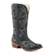 Roper Embroidery Womens Black Faux Leather Riley Cowboy Boots 9