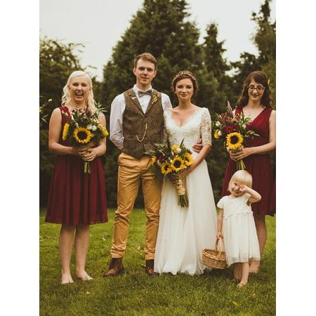 Ever-Pretty Women's Chiffon V-Neck Short Bridesmaid Wedding Party Formal Evening Dresses for Women 03989 Burgundy US -