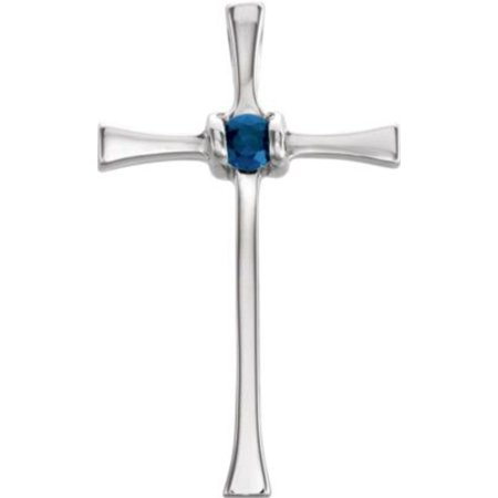 21x13mm Cross Pendant with Genuine Sapphire in 14k White Gold