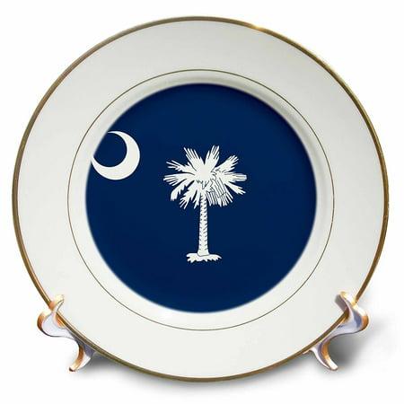 3Drose Flag Of South Carolina Sc   Us American United State Of America Usa White Palmetto Tree Indigo Blue  Porcelain Plate  8 Inch