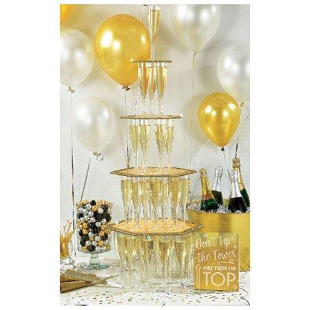 New Year's 'Black Gold and Silver' Glitter Champagne Tower Kit (1ct) (Tower Champagne)