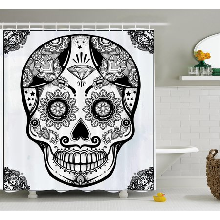 Day Of The Dead Shower Curtain Holiday Sugar Skull Print With Floral Mandala Spanish Folk