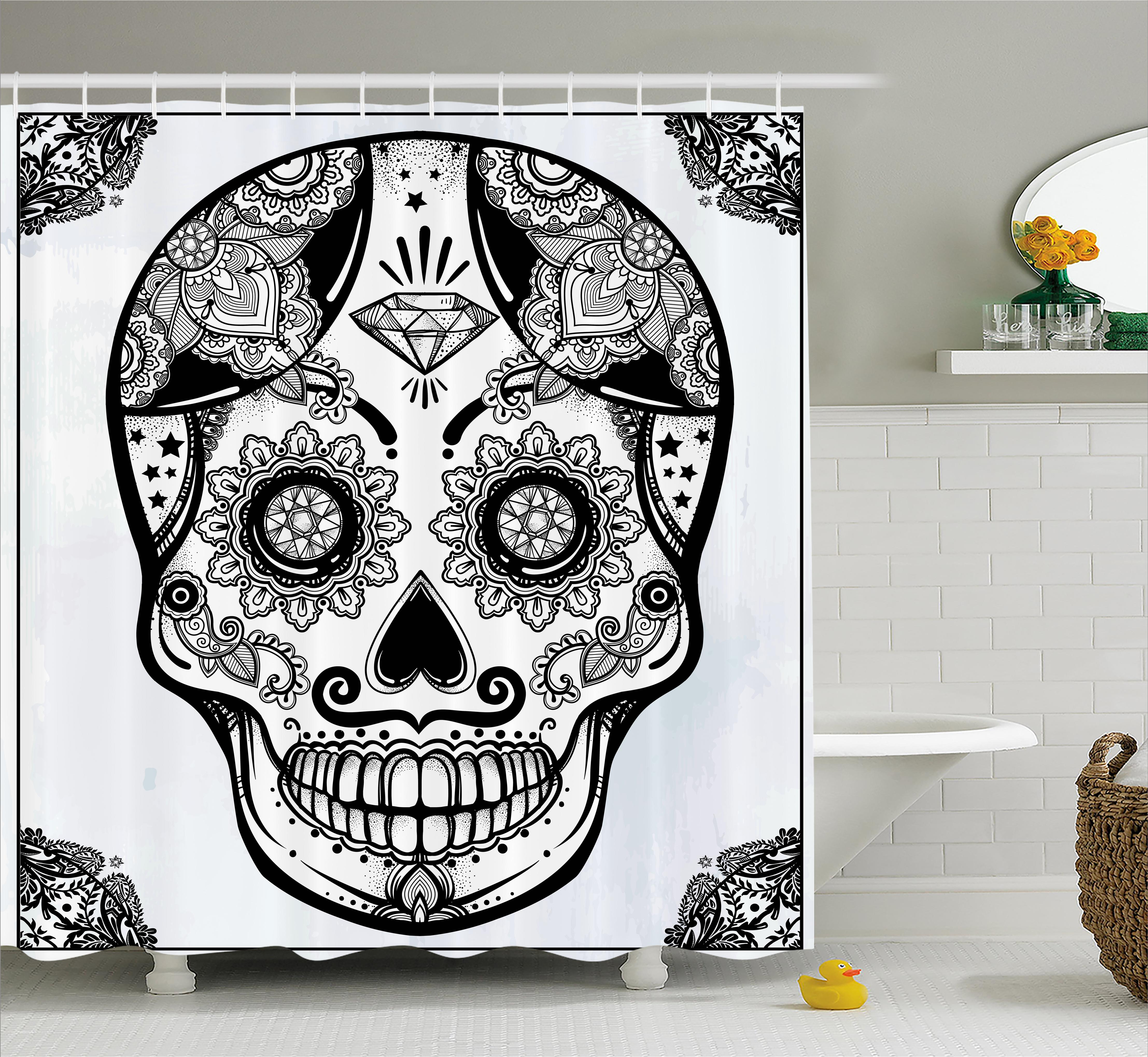 Day Of The Dead Decor Shower Curtain, Holiday Sugar Skull Print With Floral  Mandala Spanish