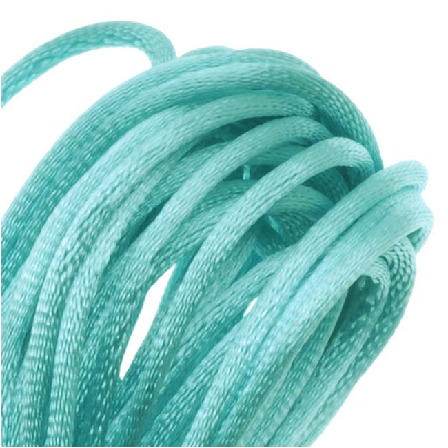 Rayon Satin Rattail 1mm Cord - Knot & Braid - Aqua Blue (6 Yards)