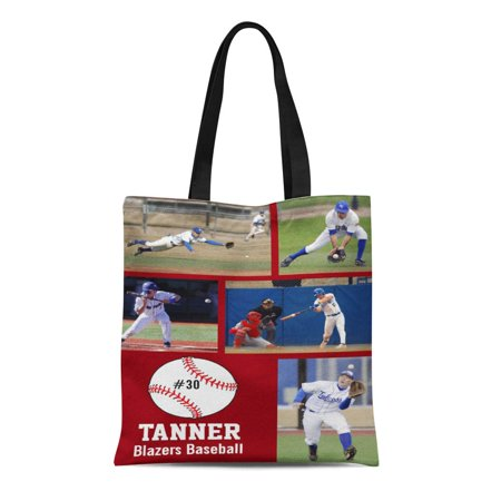 - ASHLEIGH Canvas Tote Bag Player Custom Baseball Collage Name Team Sports Personalized High Reusable Handbag Shoulder Grocery Shopping Bags