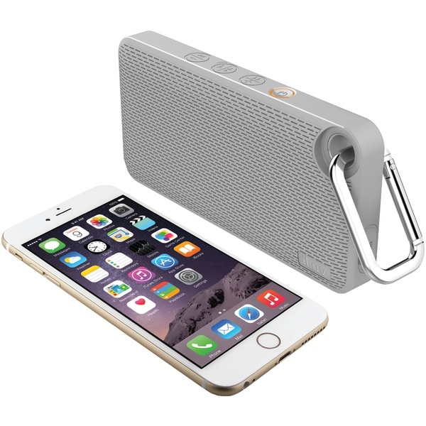 iLuv Audminis6gr App-controlled Splashproof Bluetooth Speaker (gray)