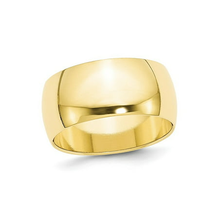Mens 10K Yellow Gold Solid Polished 10mm Wedding Band