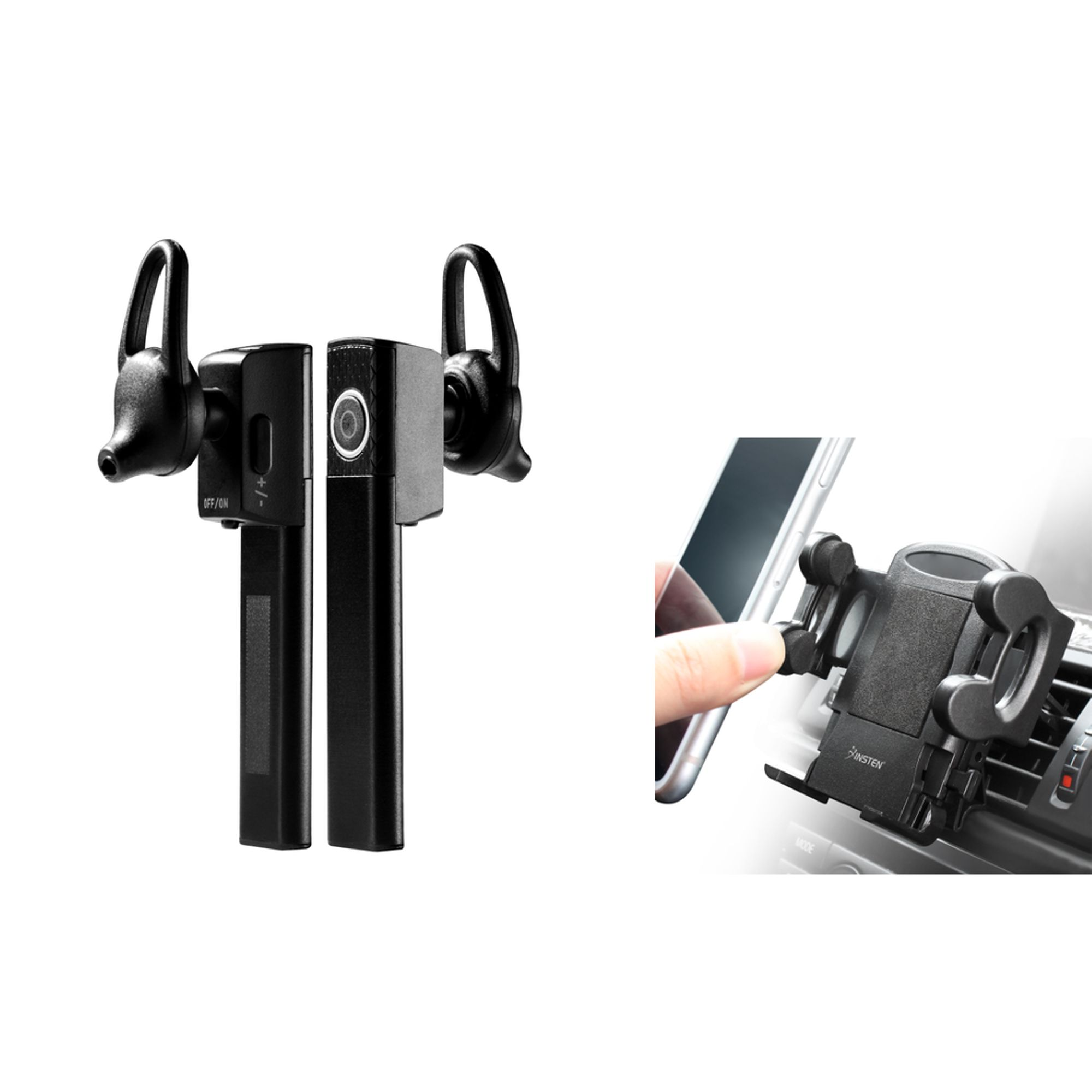 Bluetooth Cell Phone Headset by Insten Mini Bluetooth Headphone Hands Free with Mic + Air Vent Phone Holder Mount For Phone iPhone XS X 8 7 6 6s SE Samsung S9 S9+ Plus J7 Sky Pro Luna Pro Zte Majesty